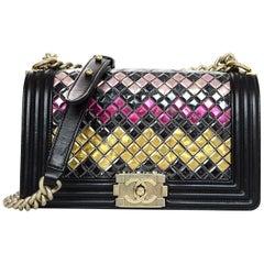 Chanel Black Leather & Multi-Color Medium Tile Brasserie Mosaic Boy Flap Bag