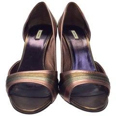 Miu Miu Pink Metallic Heel with Jewel Heel Accent