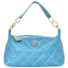 Chanel Turquoise Leather Surpique Bag w/ Beige Quilted Contrast Stitching