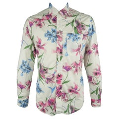 GITMAN VINTAGE Size L White Floral Cotton Long Sleeve Shirt
