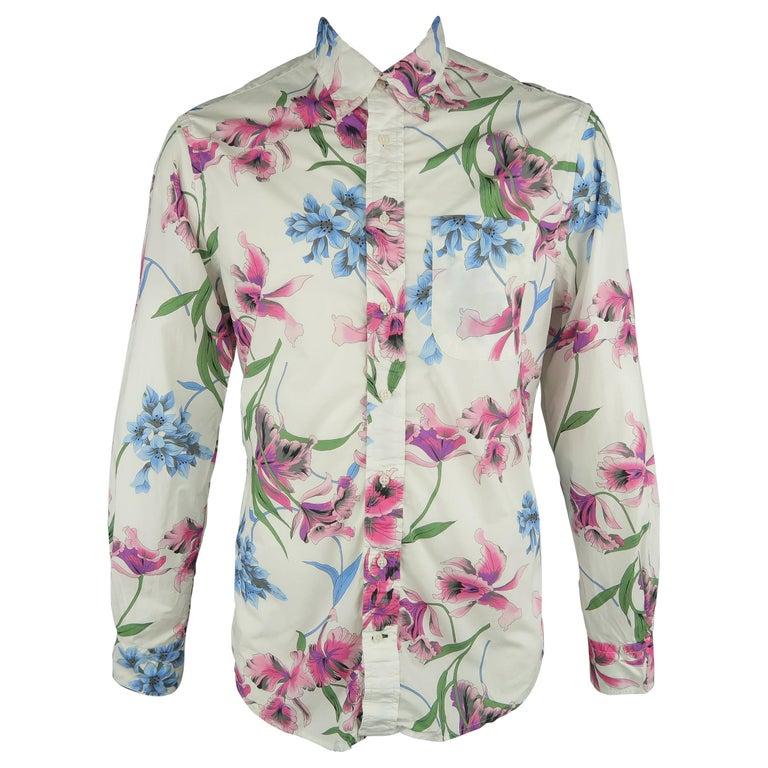 GITMAN VINTAGE Size L White Floral Cotton Long Sleeve Shirt For Sale