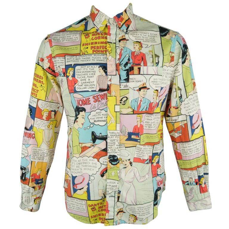 041ba28a7d4 GITMAN VINTAGE Size L Multi-Color Print Cotton Long Sleeve Shirt For Sale