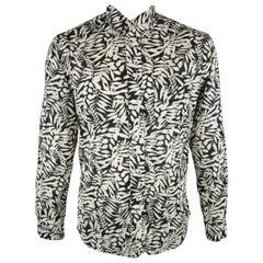 GITMAN VINTAGE Size L Black & Beige Leaves Cotton Long Sleeve Shirt