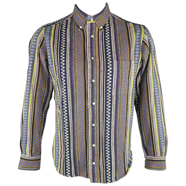 e1b33cb4915b4 GITMAN VINTAGE Size L Multi-Color Stripe Cotton Long Sleeve Shirt
