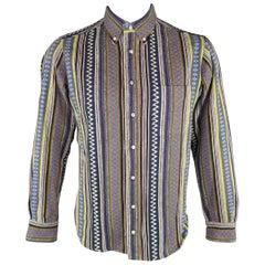 GITMAN VINTAGE Size L Multi-Color Stripe Cotton Long Sleeve Shirt