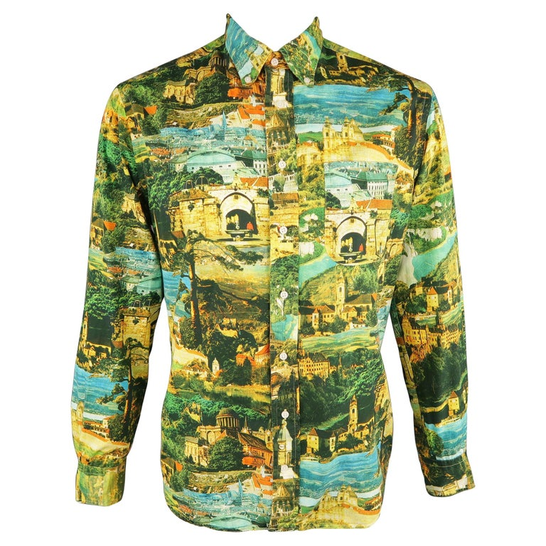 GITMAN VINTAGE Size L Multi-Color Print Cotton Long Sleeve Shirt For Sale