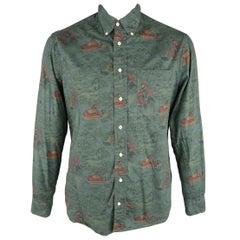 GITMAN VINTAGE Size L Olive & Brown Print Cotton Long Sleeve Shirt