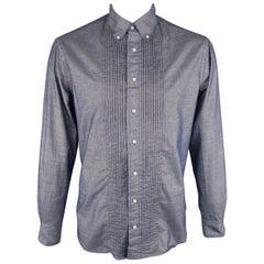 GITMAN VINTAGE Size L Blue Metallic Cotton Long Sleeve Pleated Shirt