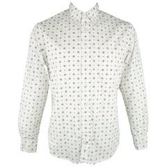 GITMAN VINTAGE Size L White Print Cotton Long Sleeve Shirt