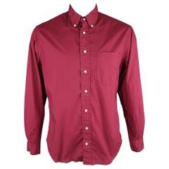 GITMAN VINTAGE Size L Burgundy Solid Cotton Long Sleeve Shirt