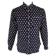 GITMAN VINTAGE Size L Navy & White Floral Cotton Long Sleeve Shirt