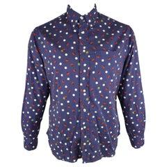 GITMAN VINTAGE Size L Navy Print Cotton Long Sleeve Shirt