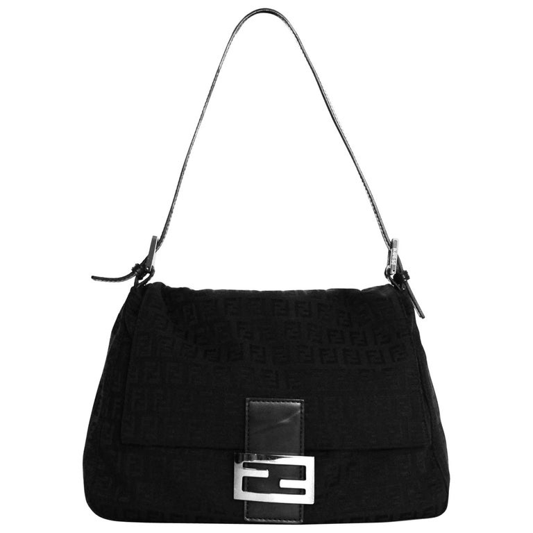 Fendi Black Monogram Zucca Mama Baguette Bag w  Logo Buckle For Sale ... f1ab49cb7dc1b
