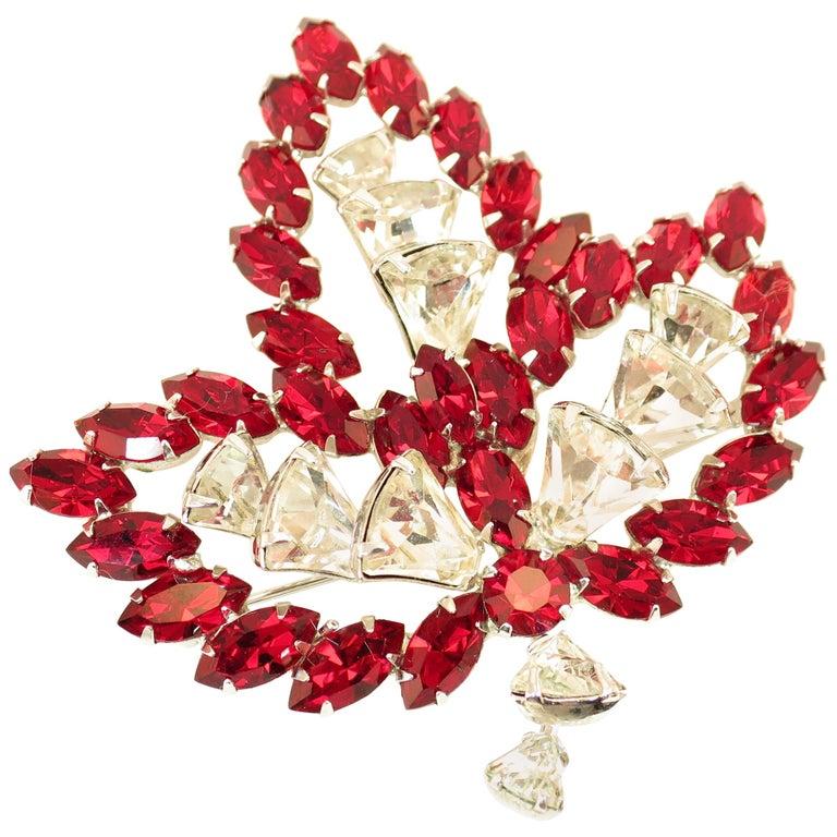 Vendome Ruby Crystal Leaf Brooch 1950s For Sale