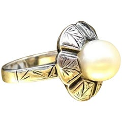 Antique 950 Sterling Natural Pearl Ring 1800s Grand Period Etruscan Revival