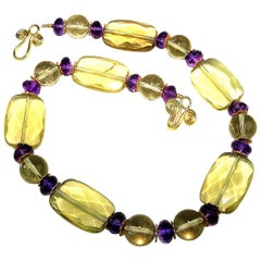 Lemon Quartz and Amethyst Necklace