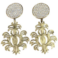 Yves Saint Laurent XXL Golden Earrings with Crystals