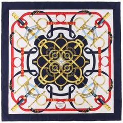 "HERMES Henri d'Origny ""Eperon D'or"" Navy Blue Equestrian Spur Print Silk Scarf"