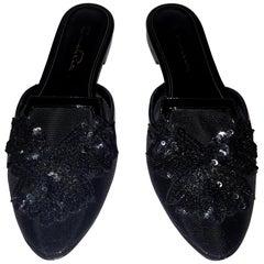 Oscar de la Renta Black Mesh Sequin Decorated Flat Mules