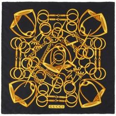 GUCCI Black & Gold Equestrian Horsebit Stirrup Print Silk Scarf / Handkerchief