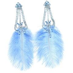 Rhinestone Feather Earrings