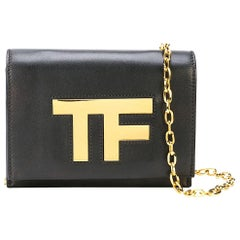 "Tom Ford Black Leather ""TF"" Gold Logo Chain WOC Shoulder Crossbody Flap Bag"
