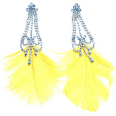 Rhinestone Feather Earrings Yellow and Blue