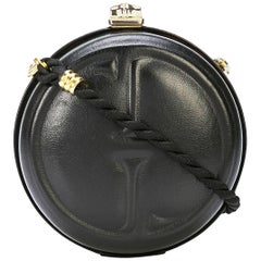 Gucci Black Leather GG Bamboo Kisslock Round 2 in 1 Evening Clutch Shoulder Bag