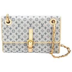 Louis Vuitton Denim Monogram Leather Gold Chain Crossbody Flap Shoulder Bag