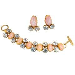 Schiaparelli Opal Art Glass Bracelet Suite 1950s
