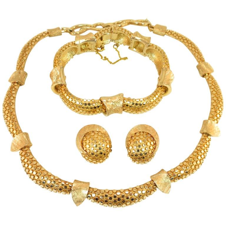 Marcel Boucher Gilded Nailhead Parure Necklace Bracelet Earrings 1950s For