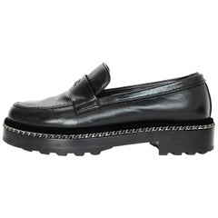 Chanel 2017 Black Leather Chain Around CC Loafers Sz 37.5