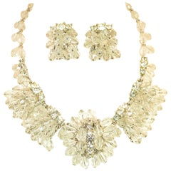 Mid-Century Hand-Made Austrian Crystal Cluster Necklace Suite 1950s