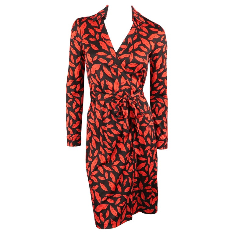 c92877f0732 DIANE VON FURSTENBERG Size 6 Black   Red Lip Print Silk Wrap Dress For Sale