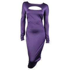 GUCCI Size M Purple Keyhole Cutout Long Sleeve Cocktail Sheath Dress