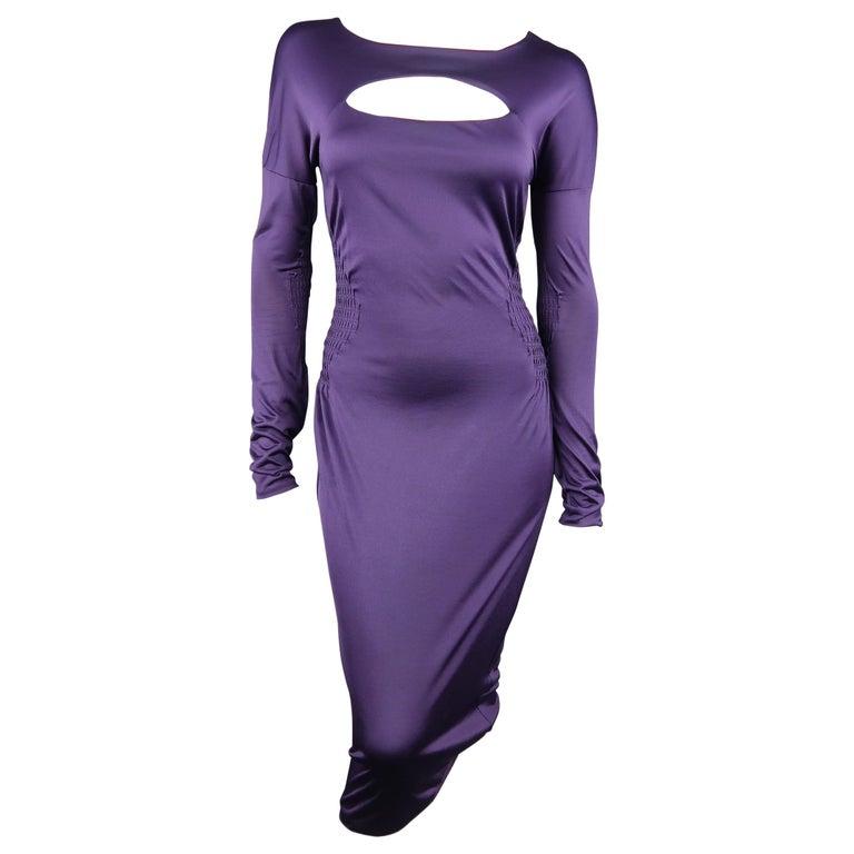 GUCCI Size M Purple Keyhole Cutout Long Sleeve Cocktail Sheath Dress For Sale
