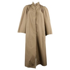 Vintage VALENTINO Tan High Collar Gathered A Line Over Coat