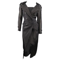 MAX MARA Size 4 Black Silk Blend Organza Double Breasted Trench Coat