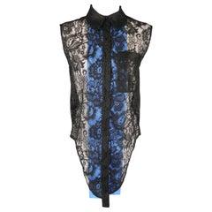 BALENCIAGA Size S Black Lace Blue Panel Sleeveless Shirt Blouse Shirt Tank