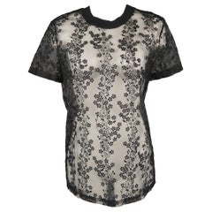 CARVEN Size 2 Black Floral Lace Embroidered Organza T-Shirt Tee Blouse