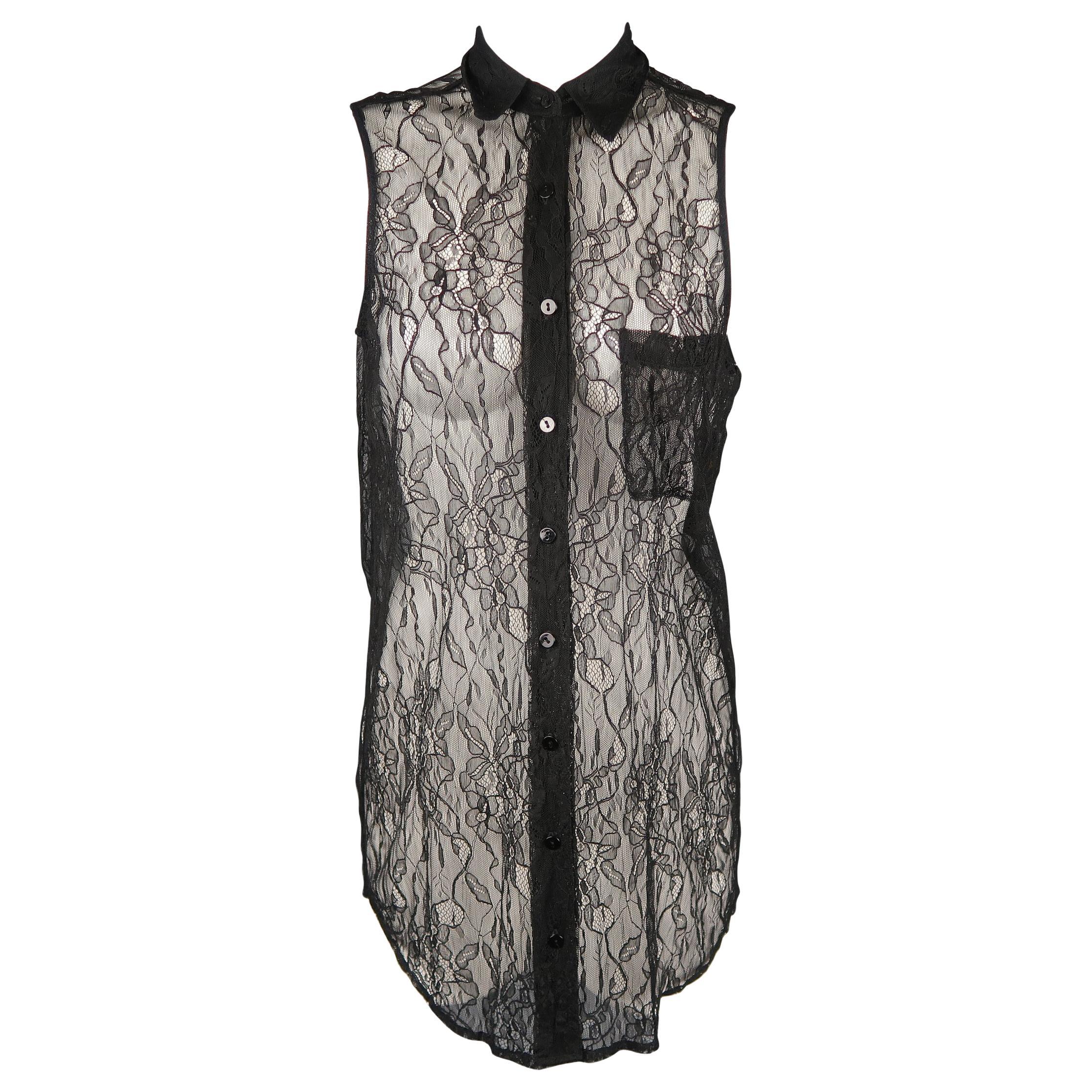 Equipment Femme Size Xs Black Lace Sleeveless Collared Shirt Blouse