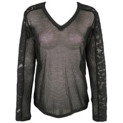 MAGASCHONI Size S Black Cashmere Mesh Lace Panel V Neck Pullover Sweater