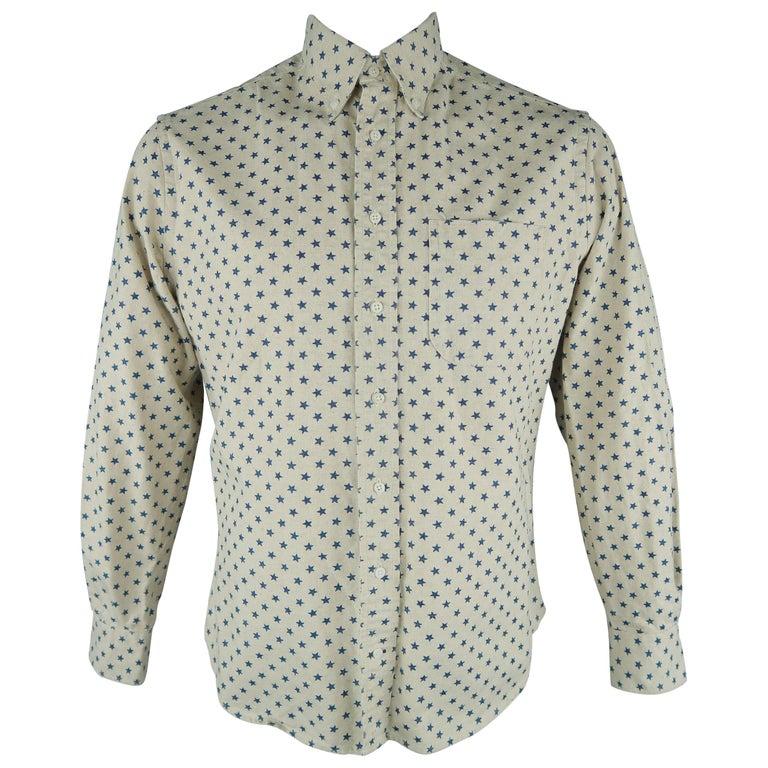 9f4f6fad157 GITMAN VINTAGE Size L Beige & Navy Stars Cotton Long Sleeve Shirt For Sale