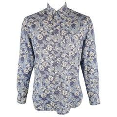 GITMAN VINTAGE Size L Blue Floral Cotton Long Sleeve Shirt