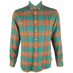 GITMAN VINTAGE Size L Green & Brown Plaid Brushed Cotton Long Sleeve Shirt