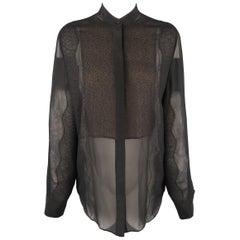 3.1 PHILLIP LIM Size S Black Silk Chiffon Lace Panel Band Collar Blouse