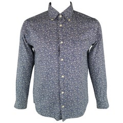 TS (S) Size L Navy Floral Cotton Long Sleeve Shirt