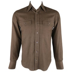 TOM FORD Size S Brown Solid Cotton Long Sleeve Shirt