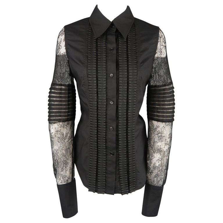 VERA WANG Size 6 Black Cotton & Lace Ruffled Front Tuxedo Shirt Blouse For Sale