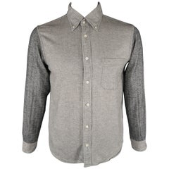 TS (S) Size L Gray Herringbone Cotton Long Sleeve Shirt